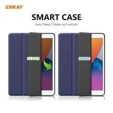 Voor iPad 10.2 2020 / 2019 ENKAY ENK-8016 PU Leather + TPU Smart Case met Pen Slot (Donkerblauw)