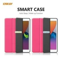 Voor iPad 10.2 2020 / 2019 ENKAY ENK-8016 PU Leather + TPU Smart Case met Pen Slot (Rose Red)