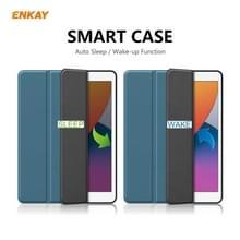 Voor iPad 10.2 2020 / 2019 ENKAY ENK-8016 PU Leather + TPU Smart Case met Pen Slot (Zwartgroen)