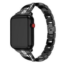 X-vormige Diamond-bezaaid Solid RVS polsband horlogeband voor Apple Watch serie 3 & 2 & 1 38mm (zwart)