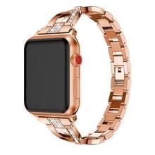 X-vormige Diamond-bezaaid Solid RVS polsband horlogeband voor Apple Watch serie 3 & 2 & 1 38mm (Rose goud)