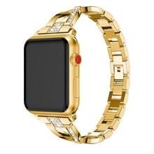 X-vormige Diamond-bezaaid Solid RVS polsband horlogeband voor Apple Watch serie 3 & 2 & 1 42mm (goud)
