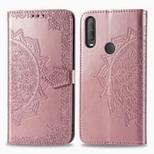 Voor Alcatel 1S (2020) Embossed Mandala Pattern TPU + PU Horizontale Flip Lederen Case met Holder & Three Card Slots & Wallet (Rose Gold)