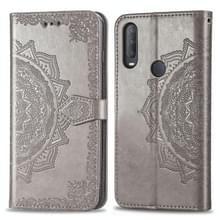 Voor Alcatel 1S (2020) Embossed Mandala Pattern TPU + PU Horizontale Flip Lederen Case met Holder & Three Card Slots & Wallet(Gray)