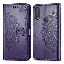 Voor Alcatel 1S (2020) Embossed Mandala Pattern TPU + PU Horizontale Flip Lederen Case met Holder & Three Card Slots & Wallet(Paars)