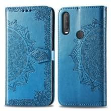 Voor Alcatel 1S (2020) Embossed Mandala Pattern TPU + PU Horizontale Flip Lederen Case met Holder & Three Card Slots & Wallet(Blauw)