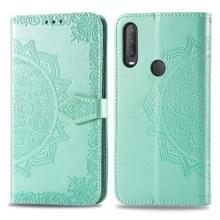 Voor Alcatel 1S (2020) Embossed Mandala Pattern TPU + PU Horizontale Flip Leather Case met Holder & Three Card Slots & Wallet(Green)