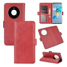 Voor Huawei Mate 40 Dual-side Magnetic Buckle Horizontale Flip Lederen Case met Holder & Card Slots & Wallet(Red)