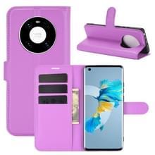 Voor Huawei Mate 40 Litchi Texture Horizontale Flip Beschermhoes met houder & kaartslots & portemonnee(paars)