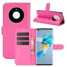 Voor Huawei Mate 40 Litchi Texture Horizontale Flip Beschermhoes met Houder & Card Slots & Wallet(Rose Red)