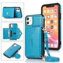 Multifunctionele Cross-body Card Bag TPU+PU Back Cover Case met Holder & Card Slot & Wallet Voor iPhone 11(Blauw)