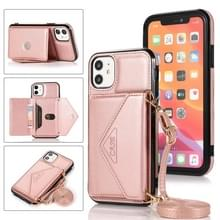 Multifunctionele Cross-body Card Bag TPU+PU Back Cover Case met Holder & Card Slot & Wallet Voor iPhone 11 Pro(Rose Gold)