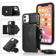 Multifunctionele Cross-body Card Bag TPU+PU Back Cover Case met Holder & Card Slot & Wallet Voor iPhone 11 Pro Max(Zwart)