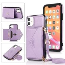 Multifunctionele Cross-body Card Bag TPU+PU Back Cover Case met Holder & Card Slot & Wallet Voor iPhone 11 Pro Max(Paars)