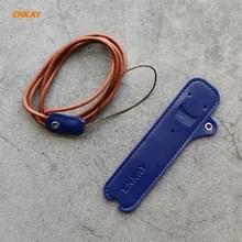 Voor JUUL Hat-Prince ENKAY Litchi Texture Full Surrounded PU Leather Case met Nylon Lanyard (Blauw)