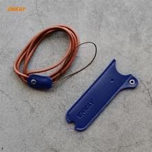 Voor JUUL Hat-Prince ENKAY Litchi Texture Half Surrounded PU Leather Case met Nylon Lanyard (Blauw)