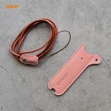 Voor JUUL Hat-Prince ENKAY Litchi Texture Half Surrounded PU Leather Case met Nylon Lanyard (Roze)