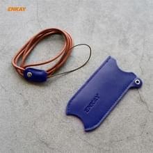 Voor JOUZ 20 Hat-Prince ENKAY Litchi Texture Half Surrounded PU Leather Case met Nylon Lanyard (Blauw)
