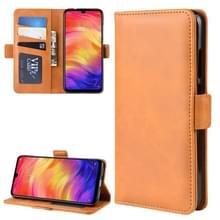 Dual-Side magnetische Buckle horizontale Flip lederen case voor Xiaomi Redmi Note 7  met houder & kaartsleuven & portemonnee & fotolijstjes (geel)