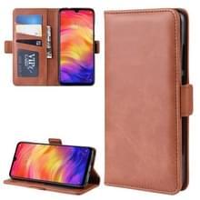 Dual-Side magnetische Buckle horizontale Flip lederen case voor Xiaomi Redmi Note 7  met houder & kaartsleuven & portemonnee & fotolijstjes (bruin)