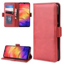 Dual-Side magnetische Buckle horizontale Flip lederen case voor Xiaomi Redmi Note 7  met houder & kaartsleuven & portemonnee & fotolijstjes (rood)