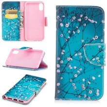 Gekleurde tekening patroon horizontale Flip lederen case voor iPhone 6 & 6S  met houder & kaartsleuven & portemonnee (Plum Blossom)