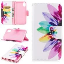 Gekleurde tekening patroon horizontale Flip lederen case voor iPhone 5 & SE  met houder & kaartsleuven & portemonnee (zonnebloem)