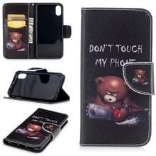 Gekleurde tekening patroon horizontale Flip lederen case voor iPhone 5 & SE  met houder & kaartsleuven & portemonnee (Bear)