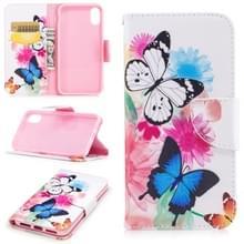 Gekleurde tekening patroon horizontale Flip lederen case voor iPhone 5 & SE  met houder & kaartsleuven & portemonnee (twee vlinders)