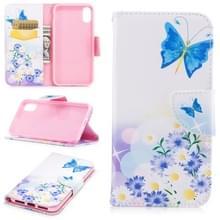 Gekleurde tekening patroon horizontale Flip lederen case voor iPhone 5 & SE  met houder & kaartsleuven & portemonnee (Butterfly Love)