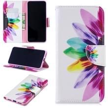 Gekleurde tekening patroon horizontale Flip lederen case voor Xiaomi Redmi Note7  met houder & kaartsleuven & portemonnee (zonnebloem)