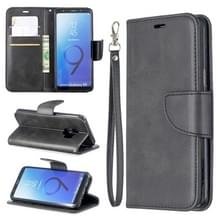 Retro Lambskin textuur pure kleur horizontale Flip PU lederen case voor Galaxy S9  met houder & kaartsleuven & portemonnee & Lanyard (zwart)