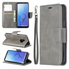 Retro Lambskin textuur pure kleur horizontale Flip PU lederen case voor Galaxy S9  met houder & kaartsleuven & portemonnee & Lanyard (grijs)
