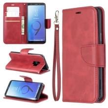 Retro Lambskin textuur pure kleur horizontale Flip PU lederen case voor Galaxy S9  met houder & kaartsleuven & portemonnee & Lanyard (rood)