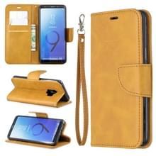 Retro Lambskin textuur pure kleur horizontale Flip PU lederen case voor Galaxy S9  met houder & kaartsleuven & portemonnee & Lanyard (geel)