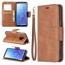 Retro Lambskin textuur pure kleur horizontale Flip PU lederen case voor Galaxy S9  met houder & kaartsleuven & portemonnee & Lanyard (bruin)
