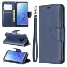 Retro Lambskin textuur pure kleur horizontale Flip PU lederen case voor Galaxy S9  met houder & kaartsleuven & portemonnee & Lanyard (blauw)