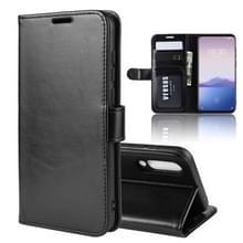 R64 textuur één fold horizontale Flip lederen draagtas voor MEIZU 16XS  met houder & kaartsleuven & portemonnee (zwart)