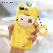 iPhone 7 Plus & 8 Plus Super schattig 3D Fresh Peach stijl Siliconen back cover Hoesje met draagriem (geel)