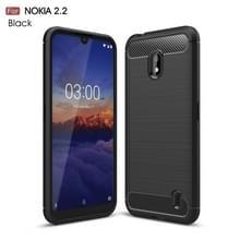 Geborsteld textuur koolstofvezel TPU Case voor Nokia 2.2 (zwart)