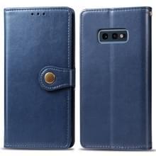 Retro effen kleur lederen gesp mobiele telefoon bescherming lederen draagtas met foto frame & kaartsleuf & portemonnee & beugel functie voor Galaxy S10e (blauw)