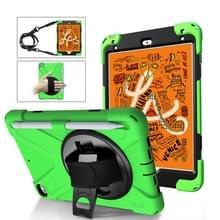 Schokbestendige kleurrijke silica HDW + PC beschermende case voor iPad mini 2019/Mini 4  met houder & schouderriem & hand riem & pen sleuf (groen)