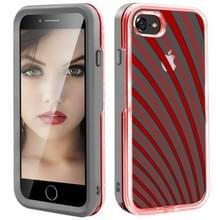 2 in 1 TPU + PC effen kleur combinatie drop voor iPhone 8Plus/7Plus (grijs + rood)