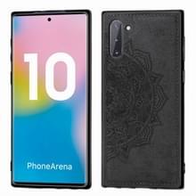 Reliëf Mandala patroon magnetische PC + TPU + stof schokbestendig geval voor Galaxy Note10  met Lanyard (zwart)