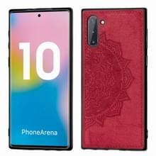 Reliëf Mandala patroon magnetische PC + TPU + stof schokbestendig geval voor Galaxy Note10  met Lanyard (rood)