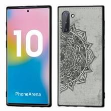 Reliëf Mandala patroon magnetische PC + TPU + stof schokbestendig geval voor Galaxy Note10  met Lanyard (grijs)