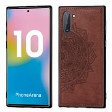 Reliëf Mandala patroon magnetische PC + TPU + stof schokbestendig geval voor Galaxy Note10  met Lanyard (bruin)