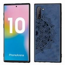 Reliëf Mandala patroon magnetische PC + TPU + stof schokbestendig geval voor Galaxy Note10  met Lanyard (blauw)