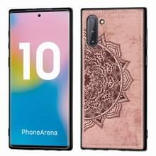 Reliëf Mandala patroon magnetische PC + TPU + stof schokbestendig geval voor Galaxy Note10  met Lanyard (Rose Gold)