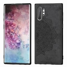 Reliëf Mandala patroon magnetische PC + TPU + stof schokbestendig geval voor Galaxy Note10 +  met Lanyard (zwart)